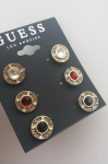 GUESS Gold-Tone Button Stone Earrings Set